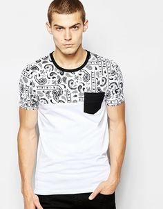 ASOS Muscle Fit T-Shirt With Bandana Print Yoke And Stretch