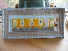 Like the colors ---Scrappy Mug Rug for my Partner by Miss-Print, via Flickr