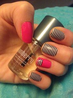 #hautepinkjn crowned and accented with #blackwhiteskinnystripejn I love the flexibility and ease with Jamberry Nail Wraps 2015