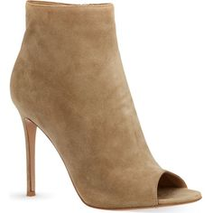 GIANVITO ROSSI Hayle suede peep toe heeled boots (1,450 CAD) ❤ liked on Polyvore featuring shoes, boots, ankle booties, heels, kengät, nude, suede boots, peep toe booties, stiletto boots and suede booties