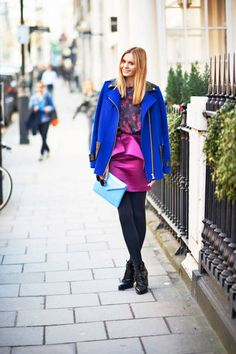 Loving bright-on-bright in London #streetstyle