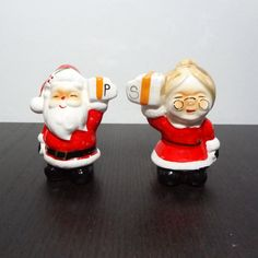 Vintage Ceramic Santa and Mrs Clause Salt and Pepper Set - Novelty, Collectible Salt and Pepper Set by DaysLongGoneSalvage on Etsy