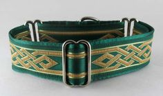 Lancelot Green & Gold: The Regal Hound - Unique fashionable designer martingale and buckle dog collars, from cute to fancy, humane and soft choke for all canine breeds