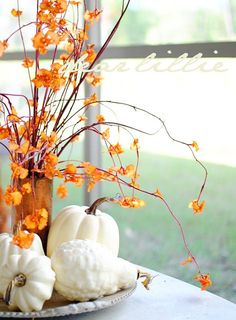 Wonderful Fall Décor With Branches: 37 Awesome Ideas : Fall Décor With Branches And Big Window And Wooden Table And Fall Flower Vase And White Pumpkins