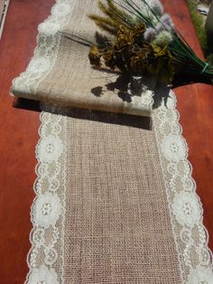 Burlap table runner with cream lace wedding table runner rustic wedding on Etsy, $20.00