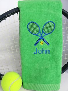 Tennis Gift  Personalized Green Tennis Towel  by TennisGiftsToGo