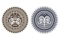 Polynesian Tattoo Masks by Vecster on Circle Tattoo Design, Circular Tattoo Designs, Circle Tattoos, Sun Tattoos, Tribal Tattoos, Tattoos For Guys, Polynesian Tattoo Sleeve, Polynesian Tattoos Women, Polynesian Tattoo Designs