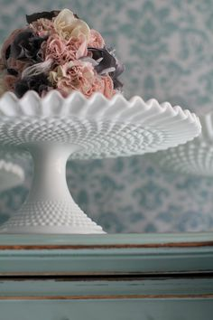 Collection Here Price Drop:fenton Milk Glass Hobnail Large Wedding Basket Marked Reliable Performance Ruffle Edge