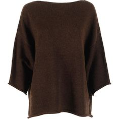 Aspesi Sweaters ($280) ❤ liked on Polyvore featuring tops, sweaters, dark brown, brown tops, dark brown sweater, aspesi, dark brown tops and wool sweater