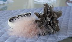 Bronze+Flower+Pink+Feathers+Ivory+headband+by+EyeHeartMe+on+Etsy,+$24.00
