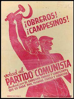 Posters from the Spanish Civil War - Retronaut Communist Propaganda, Propaganda Art, Vintage Ads, Vintage Posters, Spanish Posters, Political Posters, Soviet Art, Poster On, Lettering