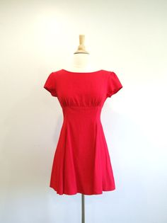 Vintage Mini Dress Little Red Dress Sun by RedsThreadsVintage, $36.00