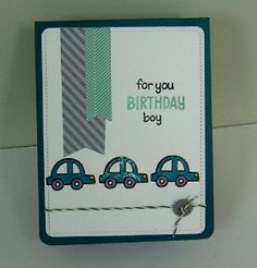 Lawn Fawn - Happy Trails, Year Two, Plus One, One the Mend, Let's Polka 6x6 paper, Cloudy Lawn Trimmings cord, Large Stitched Journaling Card _ car themed birthday boy card by Donna via Flickr - Photo Sharing!