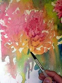 Painting leaves and flowers, watercolour and pencil, painting flower petals, watercolour flower lesson, blending watercolour, free watercolour demo
