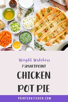 This lovely Chicken Pot Pie is 7 SmartPoints per HUGE portion on Weight Watchers Blue Weight Watchers Pasta, Weight Watcher Dinners, Weight Watchers Desserts, Ww Recipes, Fish Recipes, Chicken Recipes, Friend Chicken Recipe, Pie Tops, Yum Yum Chicken