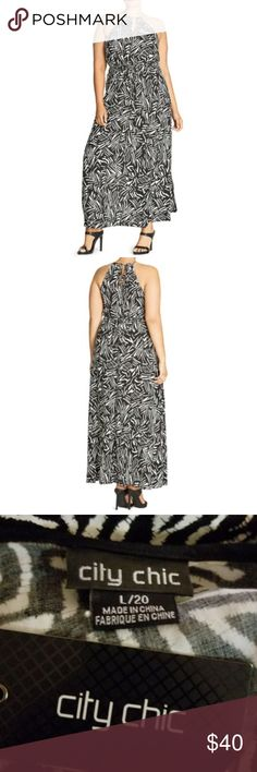 "City Chic Plus Size 20 Mono Magic Print Maxi Dress PRODUCT DETAILS   A bold graphic motif and keyhole detailing elevate the flowy silhouette City Chic's statement-making maxi dress.   Fits true to size, order your normal size Ruched round neck Sleeveless Cut-in shoulders Front keyhole Elasticized drawstring waist Side slits Graphic line print Back keyhole with tie closure  ***SIZING: LARGE IS A PLUS SIZE 20 (VANITY SIZING)  Measurements: 23"" armpit to armpit Approx 60"" length City Chic…"
