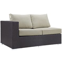 Modway Convene Wicker Rattan Outdoor Patio Left Arm Loveseat in Espresso Beige Outdoor Loveseat, Patio Loveseat, Outdoor Sectional, Modern Furniture, Outdoor Furniture, Outdoor Decor, Espresso, Coffee Table Dimensions, Beige Cushions