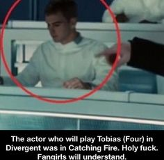 The actor that plays Tobias (Four) [Theo James], in Divergent, was a gamemaker in Catching Fire