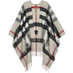Burberry Colette checked cashmere-wool blend cape ($790) ❤ liked on Polyvore featuring outerwear, jackets, cardigans, coats, sweaters, burberry cape, burberry, cape coat, white cape coat and white capes