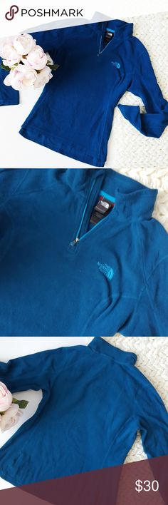 The North Face | blue fleece quarter zip | Small In excellent condition! Warm and cozy The North Face fleece quarter zip. Great condition! Used item: inspected for quality. Any signs of wear are shown in pictures. Bundle up! Offers always welcome:) The North Face Tops Sweatshirts & Hoodies