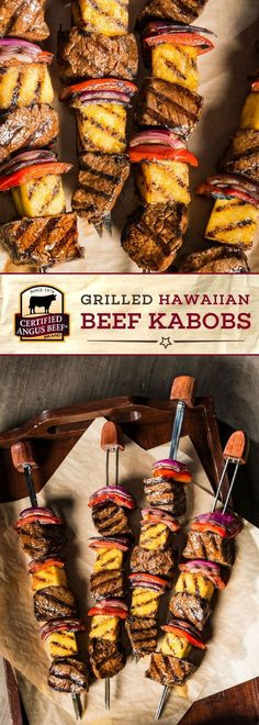 Make these Grilled Hawaiian Beef Kabobs with Licensed Angus Beef®️ model prime sirloin steak, and you will be hooked! This straightforward recipe makes use of the BEST prime sirloin steak, cubed and marinated in Carne Angus, Boeuf Angus, Angus Beef, Tailgating Recipes, Barbecue Recipes, Grilling Recipes, Cooking Recipes, Grilling Tips, How To Cook Beef
