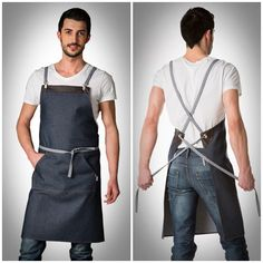 Make the front pocket larger as for a gathering apron and add pockets on the lower back for tools. Jeans En Cuir, Cafe Apron, Restaurant Uniforms, Sewing Aprons, Denim Aprons, Work Aprons, Leather Apron, Apron Designs, Aprons For Men
