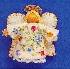 "felt angels patterns | Vintage Teeny Tiny Felt Angel Ornaments Sewing Pattern 1.5"" High ..."