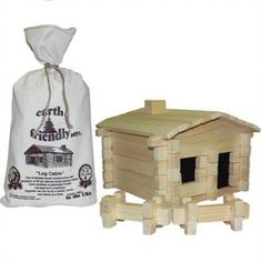 Roy Toy Earth Friendly Log Cabin Set is a building set for children made with natural pine, free of dyes. Classic and traditional wooden toys for fun construction play.