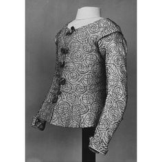Jacket, silk lined with linen and embroidered with silver thread, 1610-20, British.