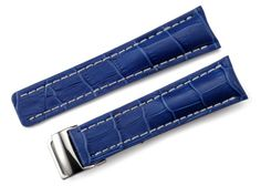 22mm Blue Alligator Grain Genuine Leather Watch Strap Band Replacement Straps