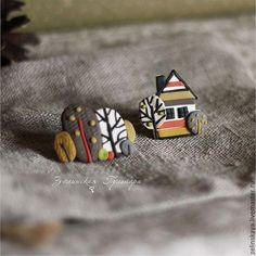 Скандинавская осень. Комплект брошей - оливковый,горчица,терракотовый