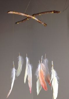 Handmade dipdyed feather baby mobile eye candy by GigiLovefeathers, $19.00
