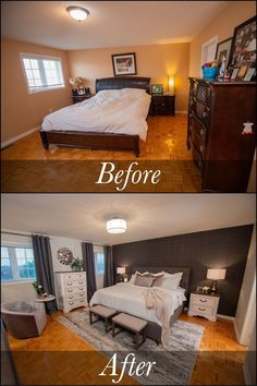 Small Master Bedroom, Master Bedroom Makeover, Master Bedroom Design, Home Decor Bedroom, Modern Bedroom, Contemporary Bedroom, Budget Bedroom, Dark Furniture Bedroom, Bedroom Makeovers