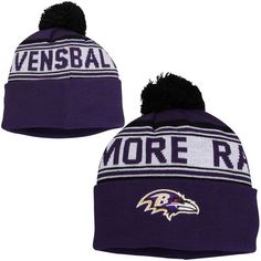 Baltimore Ravens Youth Cuffed Knit Hat with Pom - Purple - $17.99