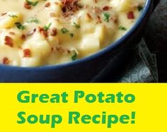Nothing warms you up like a bowl of potato soup. Try thois easy recipe from Recipes & Remembrances: Croom Family Cookbook on a cool autumn evening. Creamy Potato Bacon Soup, Best Potato Soup, Red Lobster Potato Soup Recipe, Bacon Potato, Soup Recipes, Cooking Recipes, Recipies, Family Recipes, Copycat Recipes