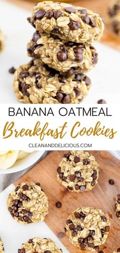 Chocolate chip banana breakfast cookies made with just 3 healthy ingredients and loaded with plenty of chocolate and oats They re gluten-free vegan and make a perfect snack for any time of the day breakfastcookies banana oatmeal breakfastrecipe vegan # Healthy Cookies, Healthy Sweets, Healthy Baking, Healthy Vegan Cookies, Healthy Chocolate Snacks, Vegan Chocolate, Healthy Meals, Bolacha Cookies, Oatmeal Breakfast Cookies