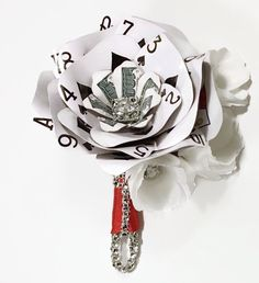 Money Poker Card Boutonniere, Money Playing Card Flower, Rhinestone Bling, Flowers with Crystals, Wedding Flowers, Vegas Wedding, Casino by ThePaintedPetaler on Etsy https://www.etsy.com/listing/267351911/money-poker-card-boutonniere-money