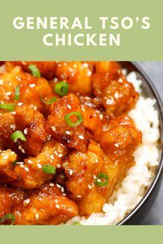 General Tso's Chicken Chicken Honey, Baked Orange Chicken, Healthy Orange Chicken, Orange Chicken Crock Pot, Cilantro Chicken, Lemon Butter Chicken, Chicken Avacado, Coconut Chicken