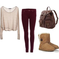 Cute and Comfy Outfit for School. I personally wouldn't wear it with those shoes though! (: