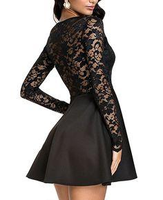 NuoReel Women's Lace Bodice Skater Dress (Small, black)
