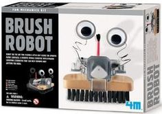 Fun Mechanics Kit 4M® Brush Robot Assemble this Robotic brush and let it clean up after you! Robot on the go! This flexible little guy will slide on smooth floor surfaces, a robotic mobile sweeper wit