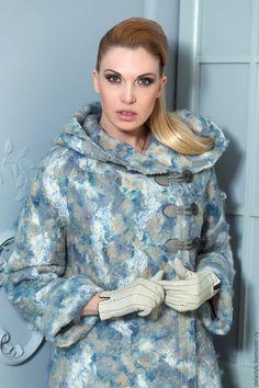 Купить Rever - весна, голубой, пальто, кудряшки, капюшон, единственный экземпляр, валяный, теплое пальто