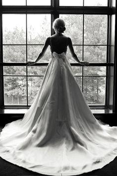 b, black and white, bow, bun, gown