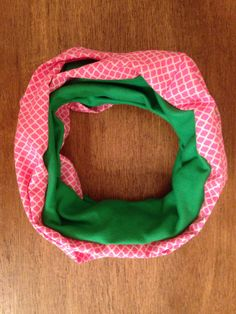 Green and Pink Infinity Scarf by KutKloth on Etsy, $12.00