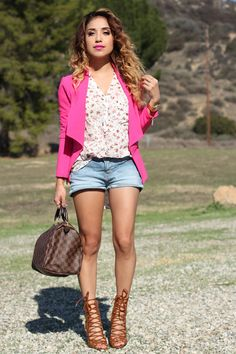 Blogger Dulce Candy was spotted in her Kardashian Kollection pink blazer. We just lover her springy outfit! Shop the pink blazer and more at Sears.com/Kardashian