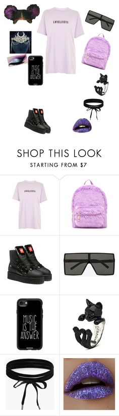 """""""When I'm lonely I listen to music"""" by givenchychic ❤ liked on Polyvore featuring Topshop, Forever 21, Puma, Yves Saint Laurent, Casetify, Boohoo and Lime Crime"""