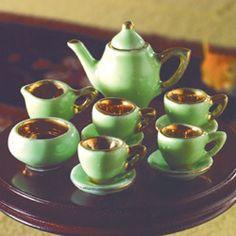 Miniature Green & Gold Tea Set, 12 pcs