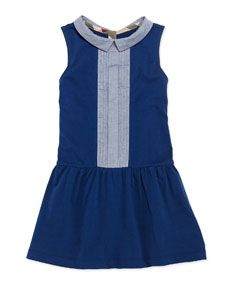 Burberry Pintuck-Front Cotton Dress, Blue, Girls 4Y-10Y