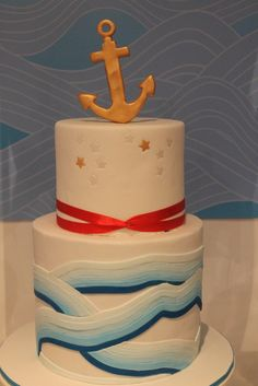 Beautiful nautical cake - like the painted embossing at the top Pretty Cakes, Cute Cakes, Beautiful Cakes, Amazing Cakes, Nautical Cake, Nautical Party, Nautical Wedding, Pasteles Cake Boss, Piece Of Cakes