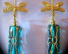 1920s Vintage style earrings Art Nouveau Deco Czech glass aqua gold drop